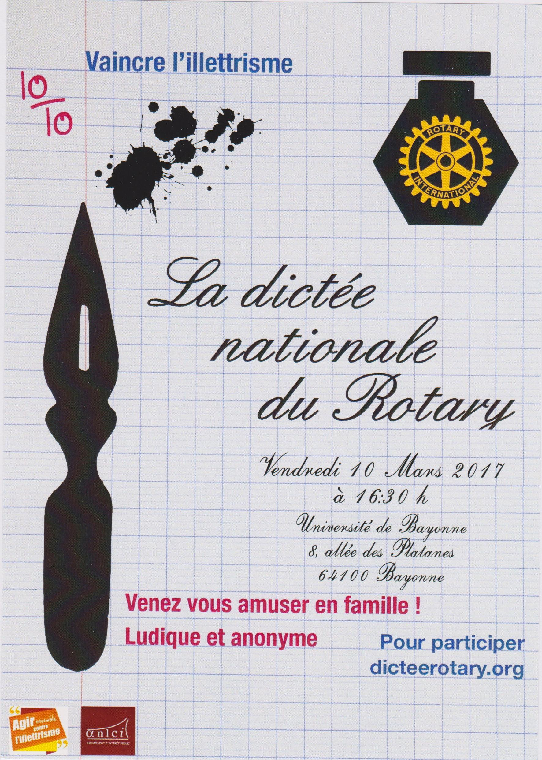 Dictée Nationale du Rotary – 10 Mars 2017